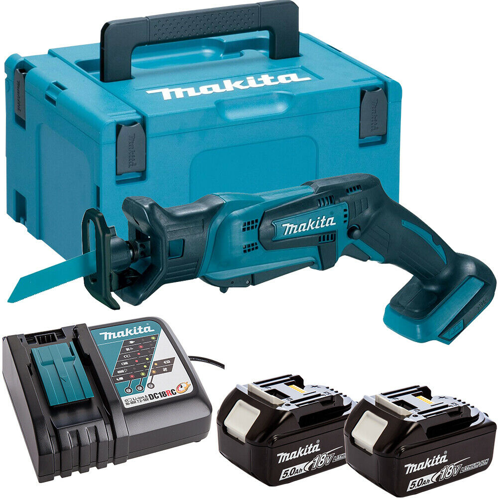 Makita DJR183Z 18V Reciprocating Saw with 2 x 5.0Ah Batteries & Charger in Case