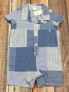 Baby-Gap-Boys-3-6-Months-Soft-Blue-amp-White-Plaid-Shorts-Romper-Jumpsuit-Nwt