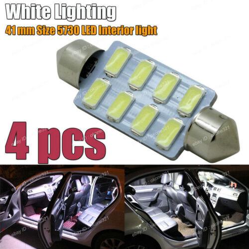 4-pc 5730 Chip Super White LED Map Dome Lights 41mm 212-2 578 Festoon Bulb 2B
