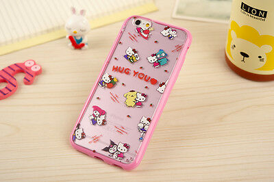 Cute Melody Hello Kitty Soft TPU Hard PC Clear Case Cover for iPhone 6 Plus 5 5S
