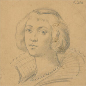 Late 19th Century Graphite Drawing - 17th Century Woman