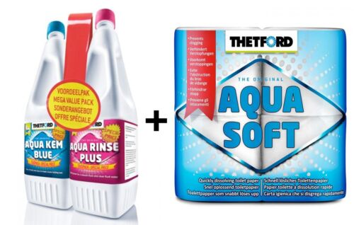 Thetford Triple Toilet Chemical Pack Blue 1.5l Pink 1.5l and Toilet Tissue