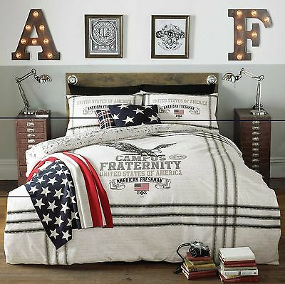 American Freshman EAGLE Stars Stripes Modern USA Bedding Duvet Cover Set!