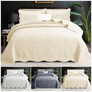 Conjunto-de-ropa-de-cama-de-algodon-acolchado-Colcha-Cobertor-con-Almohadas-Individual-Doble-King