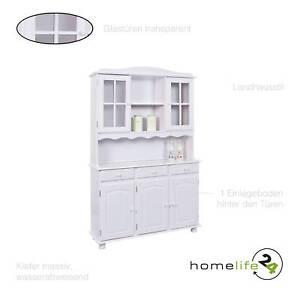 Küchenschrank weiß landhausstil  Anrichte Landhausstil 5 Türen Vitrine Buffet Küchenschrank ...