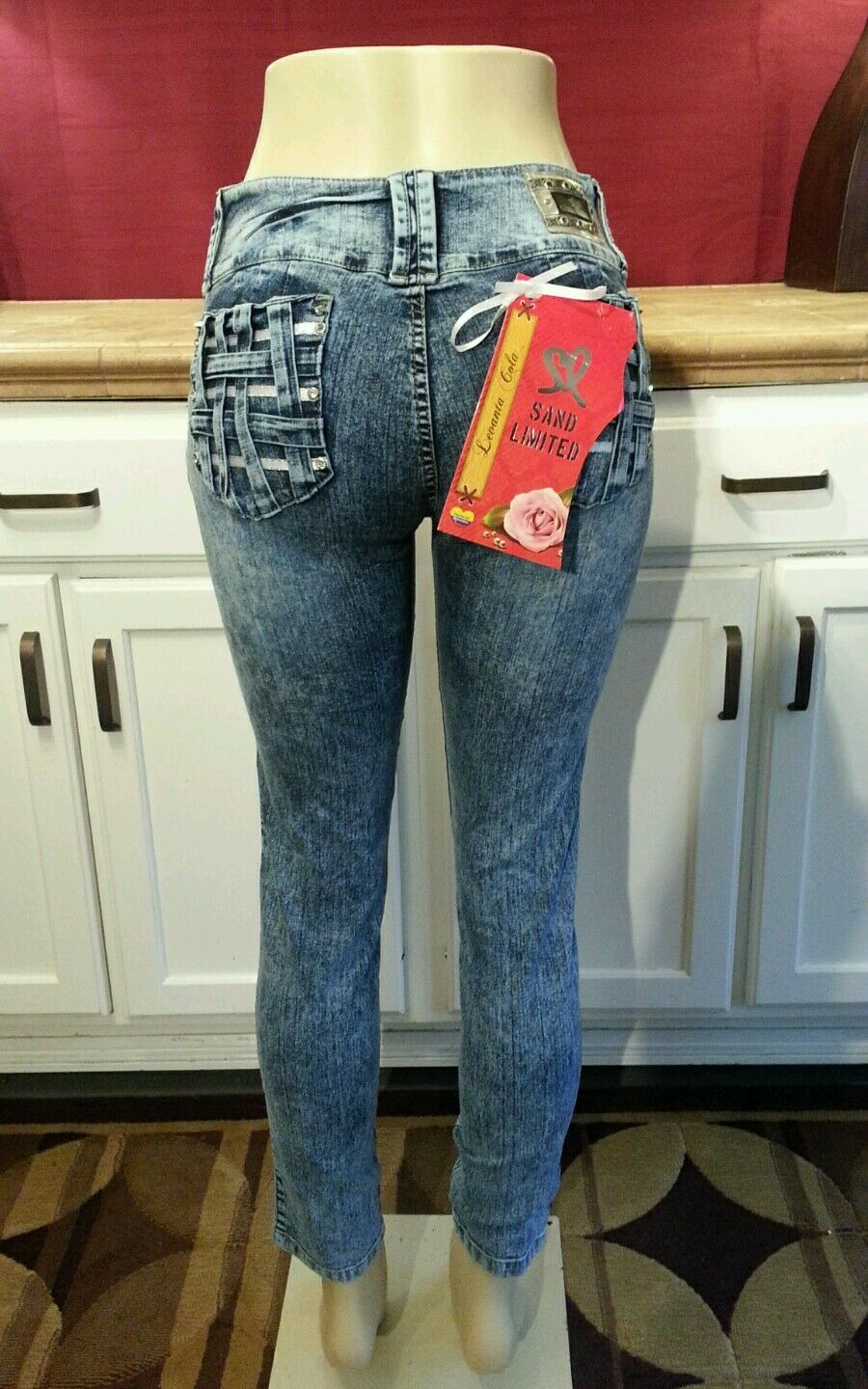 Sand Limited - Colombian Butt Lifting Jeans, Acid Wash Sand Blast, US 9, COL 14