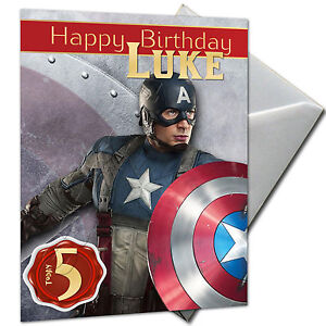 THE AVENGERS CAPTAIN AMERICA PERSONALISED Birthday Card Large