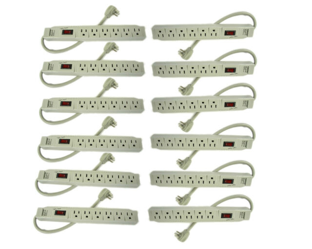 12X 6 Outlet Power Electrical Wall Plug Socket Surge Protector Strip Switch New
