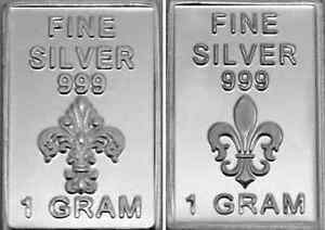 USA-1gr-999-Fine-Silver-Art-Bar-French-Symbol-039-Fleur-de-Lys-039-UNCIRCULATED