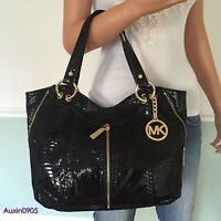 NEW! MICHAEL KORS Gorgeous Black Embossed Leather Medium Shoulder Bag Tote Purse
