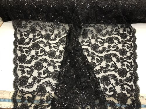 Black Flowers Embroider With Sequins And Corded On A Mesh-Sold By Yard.