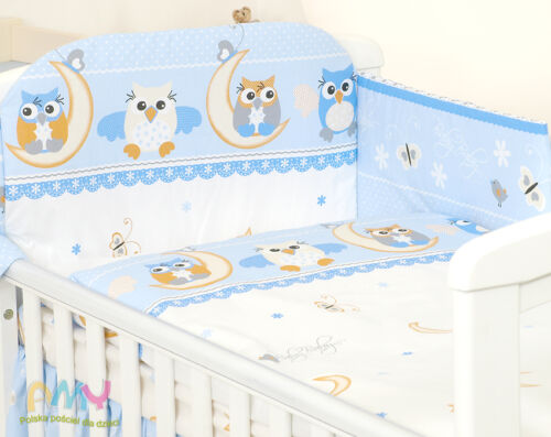 DUVET  COVER BLUE OWL BEST PRICE COT OR COT BED SET 3 PC PILLOWCASE BUMPER