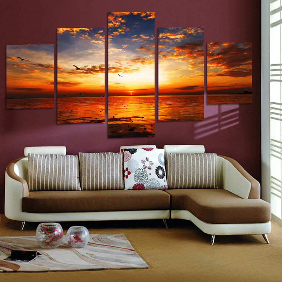 5 Piece HD Sea View Art Painting Oil Print On Canvas Wall Home Decor Unframe New