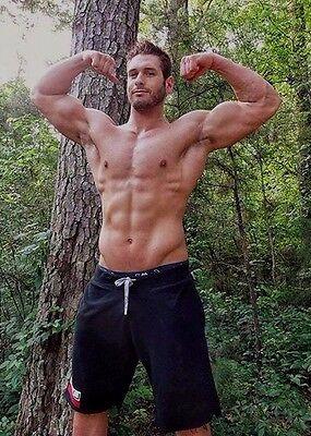 Shirtless Male Muscular Hunk Beefcake Beard Huge Chest Abs