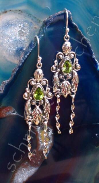 Ohrring Ohrhänger Antik Stil Peridot grün Stein des August Sterling Silber 925