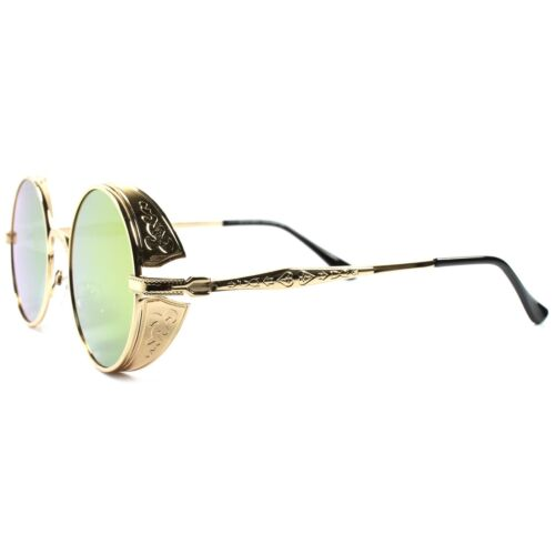 Round Side Shield Retro Gothic Steampunk Style Gold Red Mirror Lens Sunglasses