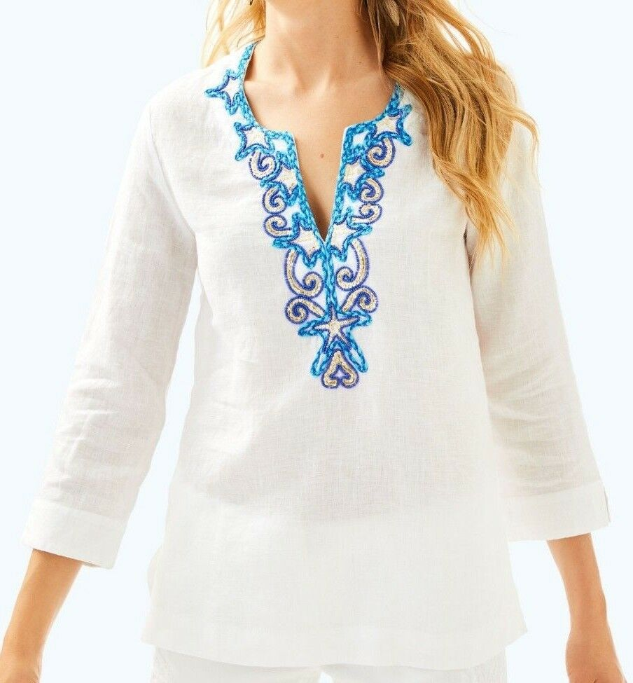New Lilly Pulitzer AMELIA ISLAND TUNIC Weiß Embroiderot Beaded Sequin L XL
