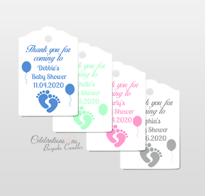 Personalised Baby Shower Favour Tags Baby Feet Design With Ribbon x 12