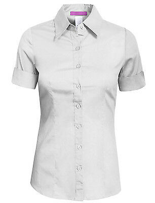 NE PEOPLE Women's 34 Color Basic Tailored Short Sleeve Button Down Shirt -NEWT06
