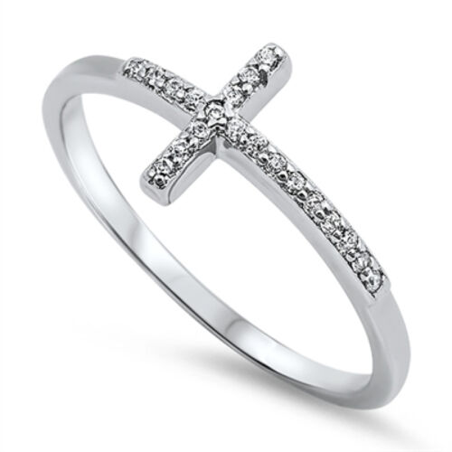 Silver Sideway Cross Ring Sterling Silver 925 Best Price Jewelry Gift Selectable