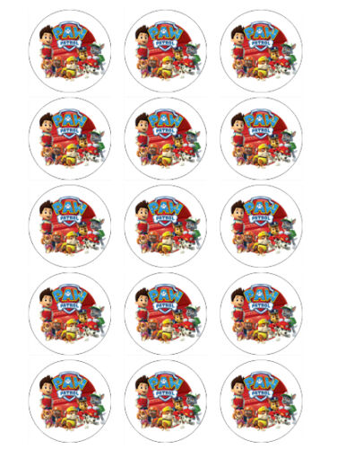PAW PATROL BIRTHDAY EDIBLE CUPCAKE TOPPERS DECORATIONS x 15 WAFER PAPER//ICING