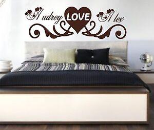 beau stickers personnalis pr noms couple amour t te de lit chambre adulte ebay. Black Bedroom Furniture Sets. Home Design Ideas