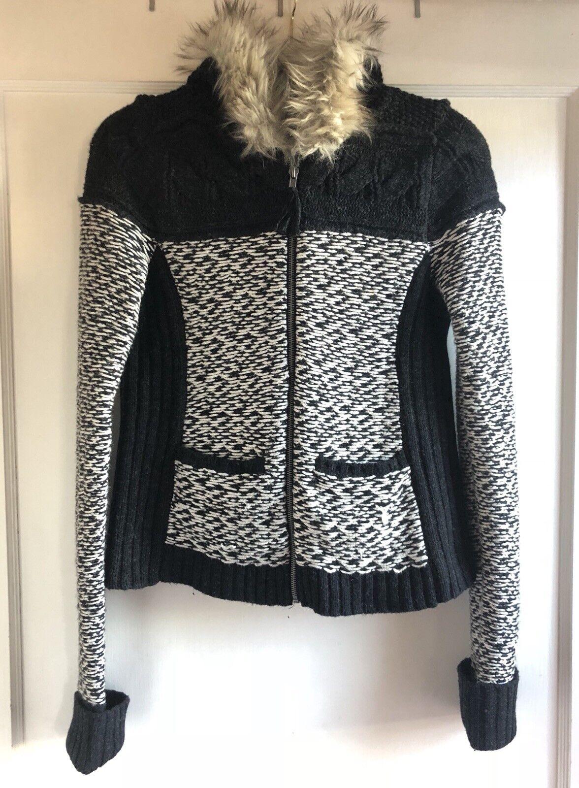 Anthropologie Sleeping On Snow Fur Hearth Wool Blend Faux Fur Snow Hoodie Sweater Größe M 2c5b91