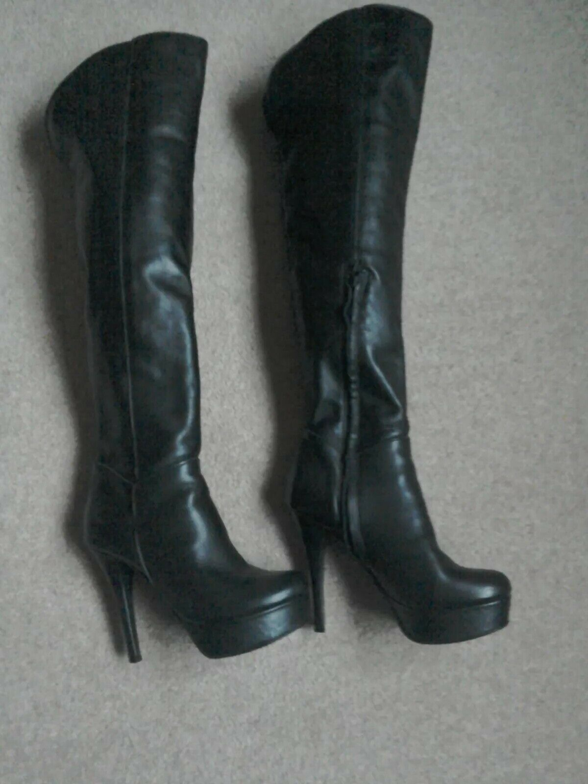 Moda in Pelle Stiefel. schwarz over the knee Stiefel. Pelle Größe 5 b648f2