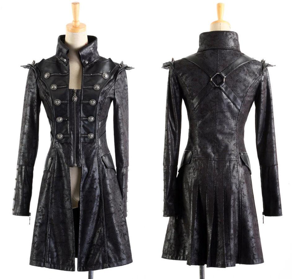 Mantel Gothic Punk Steampunk Epauletten Nagel Militär Harness PunkRave Herren