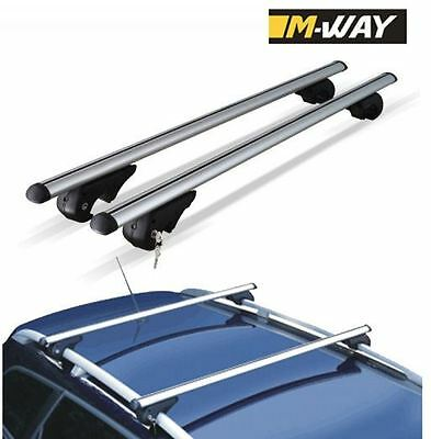 LOCKING SILVER CAR ROOF CROSS BARS UNIVERSAL FIT FOR CARS WITH METAL RAILS FITTE