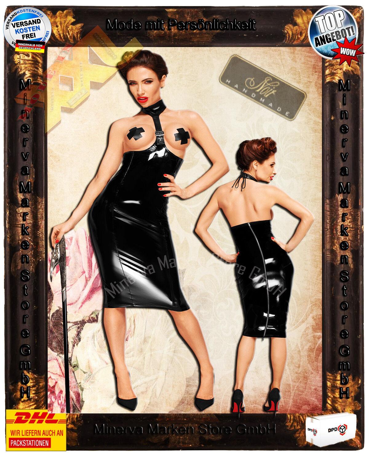 Erotisches schwarzes PVC Lack Kleid Reißverschluß Halsband F192 schwarz Handmade
