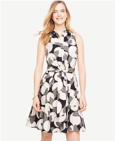 0199693054 NWT Ann Taylor Sleeveless orange Blossom Belted Shirt Dress 159.00 ...