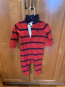Polo Ralph Lauren Baby Red Navy Blue Rugby Stripe One Piece Outfit 9 Month Ebay