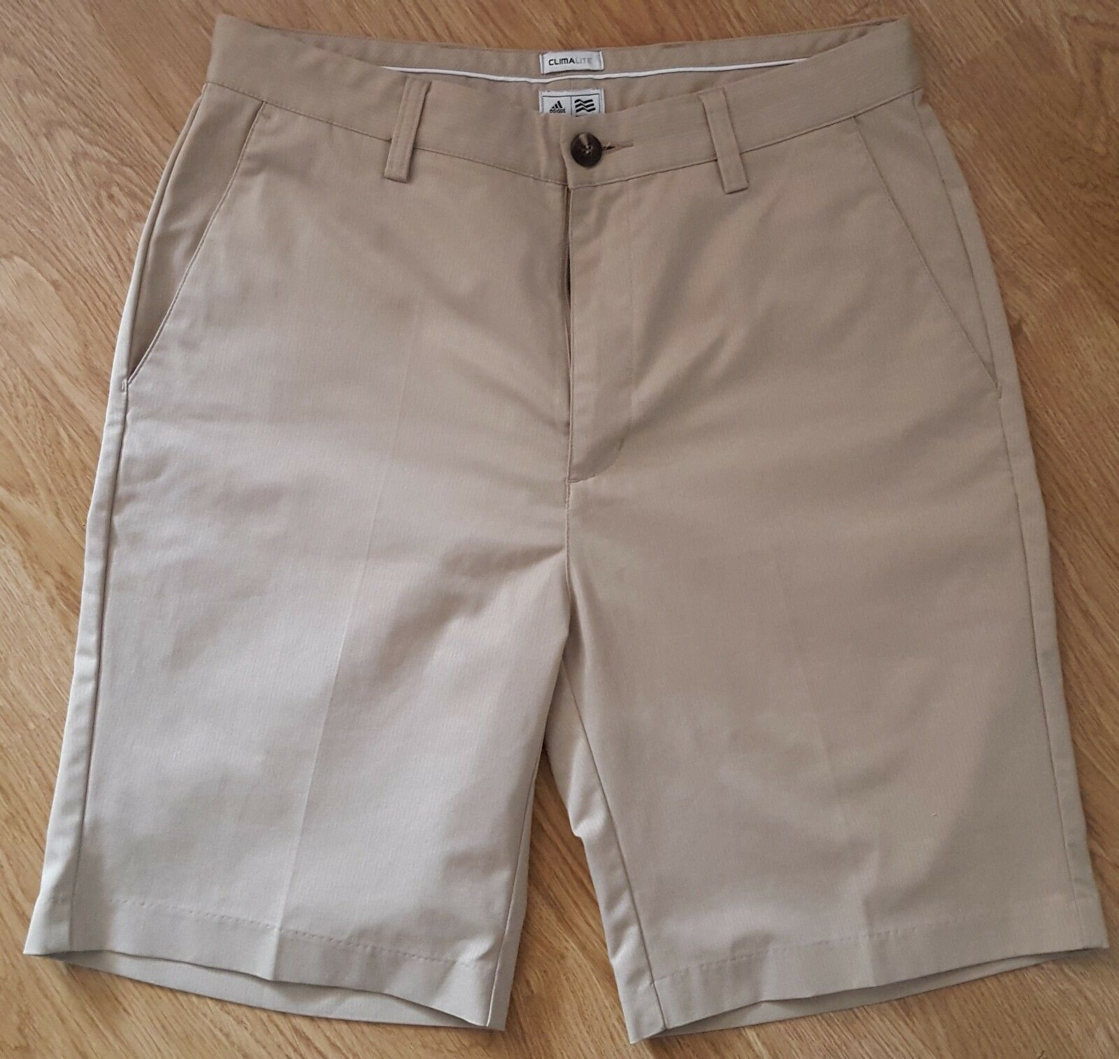Adidas Casual Shorts Climalite Zip Fly Striped Beige Size W30