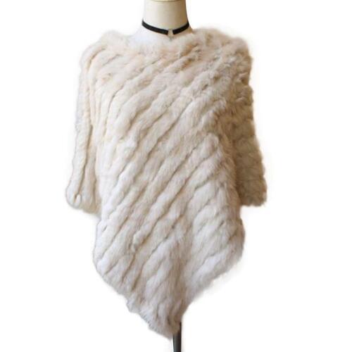 Women/'s Pullover Knitted Real Rabbit Fur Wedding Fur Trim Poncho Cape Shawl Wrap