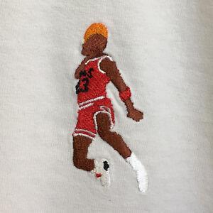 Michael Jordan Slam Dunk Embroidered Retro Basketball White Tee T-Shirt by  AF | eBay