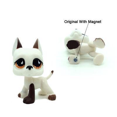 Rare 2PCS LPS Littlest Pet Shop Toys Great Dane Dog White Figure Puppy