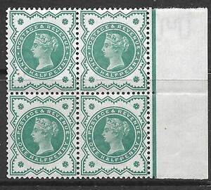 SG 213 Spec K28(2) ½d Bright Blue Green Jubilee blk of 4 UNMOUNTED MINT/MNH