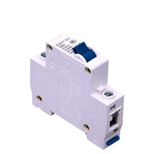 1Pc 1~3 Poles DC Circuit Breaker DZ47-63 230~400V for DC Battery Protection