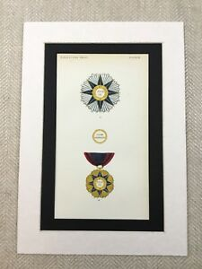 1858-Italian-Medals-Military-Order-Pope-Pius-IX-Antique-Chromolithograph-Print