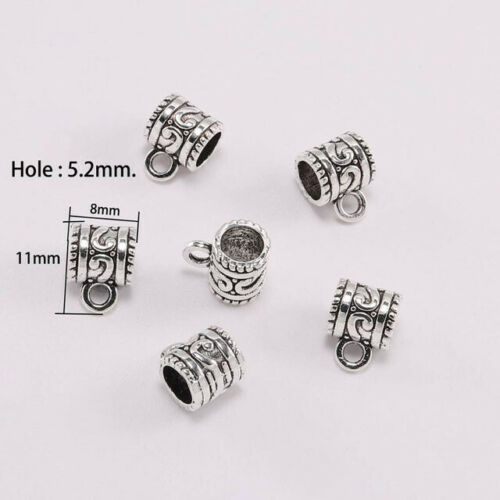 20pcs Antique Silver Clip Bail Beads Pendant Clasp Jewelry Necklace Connector