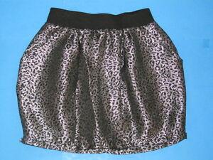 Charlotte-Russe-Short-Mini-Skirt-Sz-S-Black-Silver-Metallic-Animal-Cheetah-Print