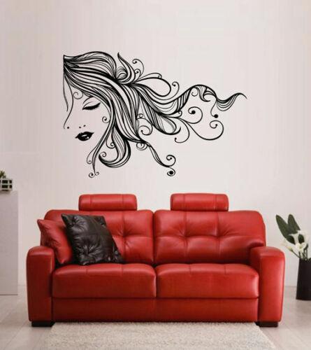 ik1761 Wall Decal Sticker girl face hair salon bedroom
