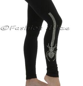 Ladies-Black-Tight-Fit-Spider-Diamante-Print