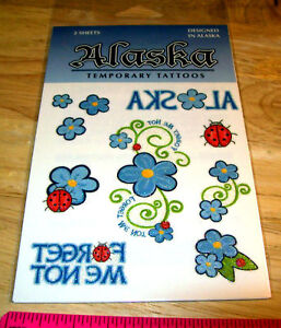 Alaska-Temporary-tattoo-Glitter-forget-me-not-flowers-2-sheets-per-package