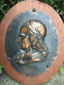 Antique Victorian Embossed Repousse Copper Brass Portrait Descarte or Richelieu