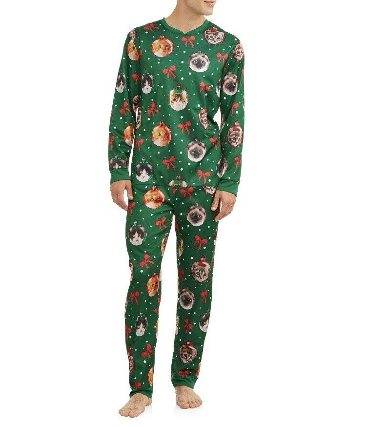 Funny Cats Christmas Pajamas Mens XL unionsuit Light Up Ugly One Piece Zip