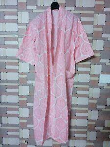 Indian Cotton Long Kimono Hand Block Print Bathrobe Beach Wear Night Maxi Gown