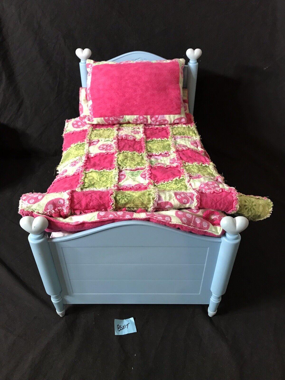 American girl girl girl doll bitty baby retirot Blau heart bed And Bedding Set 8357a6