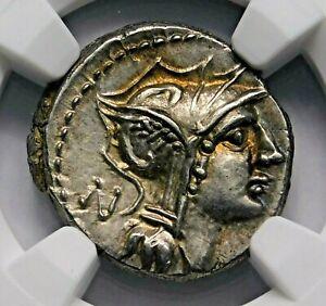 NGC-Ch-AU-3-5-45-D-Silanus-Stunning-Denarius-Roman-Republic-Silver-Coin